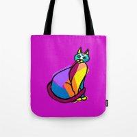 Colorful Cat Hero Tote Bag