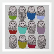 Bright Line Up of Owls Art Print