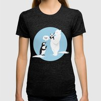 How Little Pandas Are Bo… Womens Fitted Tee Tri-Black SMALL