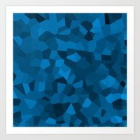 Blue Pixelated Geometric… Art Print