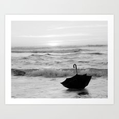 My Voyage in an Umbrella Across the Sea Art Print