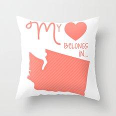 My Heart Belongs in Washington Throw Pillow