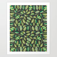Art Print featuring Night Tropical Jungle by Pom Graphic Design