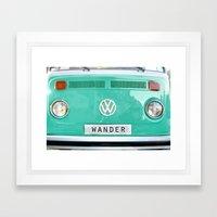 Wander wolkswagen. Summer dreams. Green Framed Art Print