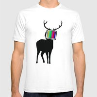 Deer TV Mens Fitted Tee White SMALL