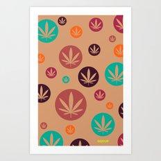 GGDUB - Burnt Orange Weed Leaf Textile~  Art Print