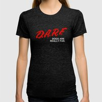 D.A.R.F. Womens Fitted Tee Tri-Black SMALL