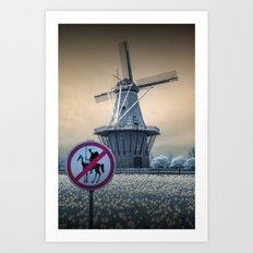 No Tilting at Windmills with Don Quixote Sign and Windmill Art Print