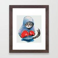 Boxing Cat Framed Art Print