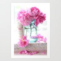 Aqua Pink Cottage Peonies In Mason Jar   Art Print