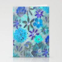 Aqua Blue Flower Power Stationery Cards