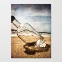 Bottle On Beach II Canvas Print