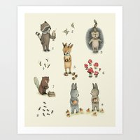 Numbers, Animals And Num… Art Print