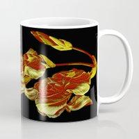 embroidered iris on black background Mug