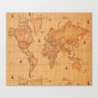 Canvas Print featuring World Map LeaTher by ''B OGiatzi.