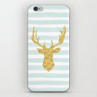 Gold Deer On Mint Waterc… iPhone & iPod Skin