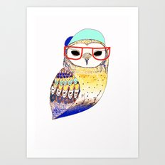 Hipster Owl, hipster, owl, owl art, illustration, print, children's, digital,  Art Print