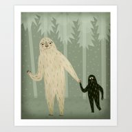 Art Print featuring Sasquatch And Her Son by Sarah Goodreau