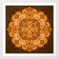 Orange Mandala Flower Art Print