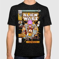 Alien Wars Mens Fitted Tee Tri-Black SMALL
