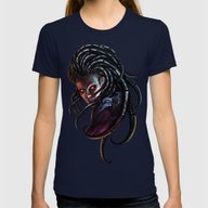 Queen Of Blades Womens Fitted Tee Navy LARGE