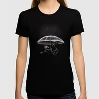 Cat & Dog Womens Fitted Tee Black SMALL
