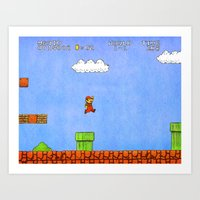 mario Art Prints featuring Mario by let's build a boat