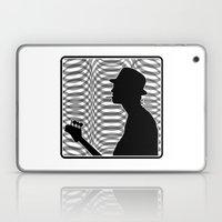 Bass Guitar Player Silhouette B/W Laptop & iPad Skin