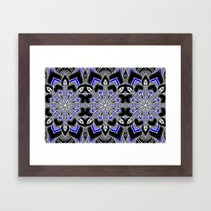 Mandala: Black White Blue Flower Framed Art Print