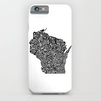 iPhone & iPod Case featuring Typographic Wisconsin by CAPow!
