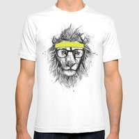 Hipster Lion Mens Fitted Tee White SMALL