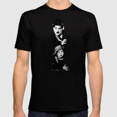 Chaplin and the kid - Urban ART Black SMALL Mens Fitted Tee