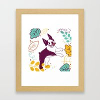 Happy Fall, Dogs! (Boston) Framed Art Print