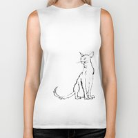 Skinny cat illustration Biker Tank