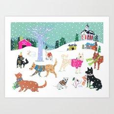 Winter Jindos Art Print