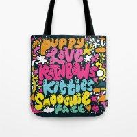 PUPPY LOVE, RAINBOWS, KI… Tote Bag