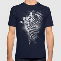 Zebra Mood - White Mens Fitted Tee Navy SMALL