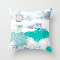 Ocean And Boat Throw Pillow