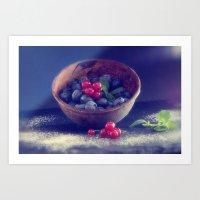 Dark blue berries contrasting with bright red berries Art Print