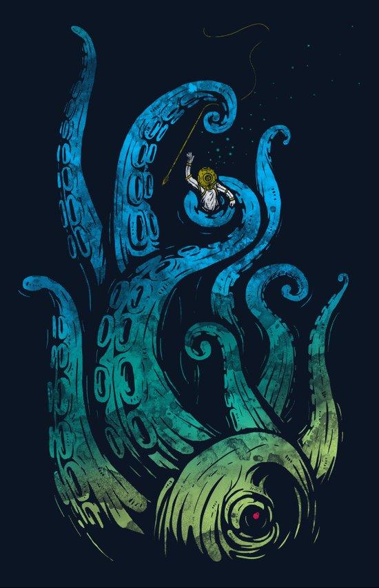 Undersea attack (neon ver.) Art Print