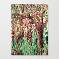 Lost in the Forest - watercolor painting collage Canvas Print