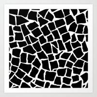 Mosaic Zoom Black and White Art Print