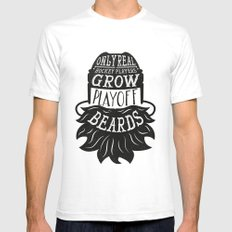 Only Real Hockey Players Grow Play Off Beards SMALL White Mens Fitted Tee