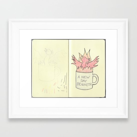Coffee Phoenix Sketchbook Page Framed Art Print