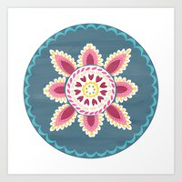 Suzani inspired floral blue 2 Art Print