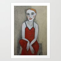 Actress In Red Dress Art Print