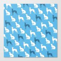 Greyhound Dogs Pattern O… Canvas Print