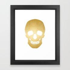Gold Skull on white Framed Art Print