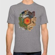 A Tiny World Mens Fitted Tee Tri-Grey SMALL