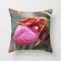 The Pink Lady Slipper Throw Pillow